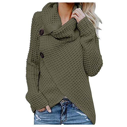AmyDong Womens Turtleneck Sweater Warm Cable Knitted Loose Button Wrap Asymmetrical Pullover Tops