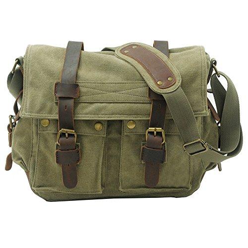 Vrikoo Vintage militaire toile souple Crossbody sport occasionnels sacs à bandoulière sac besace école Messenger Bag (kaki, XL) Vert Militare