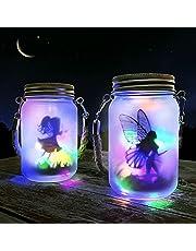 Mostof Fairy Solar Lantern för utomhus, IP44 vattentät hängande frostat glas Solar Mason Jar-lampor för bord, gård, trädgård, uteplats, gräsmattor