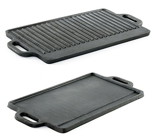 Cast Iron 20'' Reversible Griddle Flat & Ridged BBQ Grill Burner Kitchen New by M.D.S Cuisine Cookwares