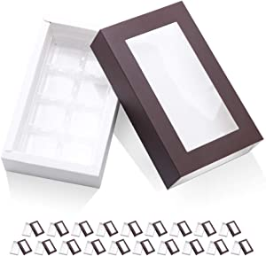 BAKIPACK 20 Truffle Box, Chocolate Box Packaging, Candy Boxes with 8-Piece Plastics Tray(Tray Size with 5.75x2.75 Inches), Pull Out Packing with Clear Window Sleeves, Dark Brown