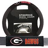Georgia Bulldogs NCAA Steering Wheel Cover and Seatbelt Pad Auto Deluxe Kit (2 Pc Set)