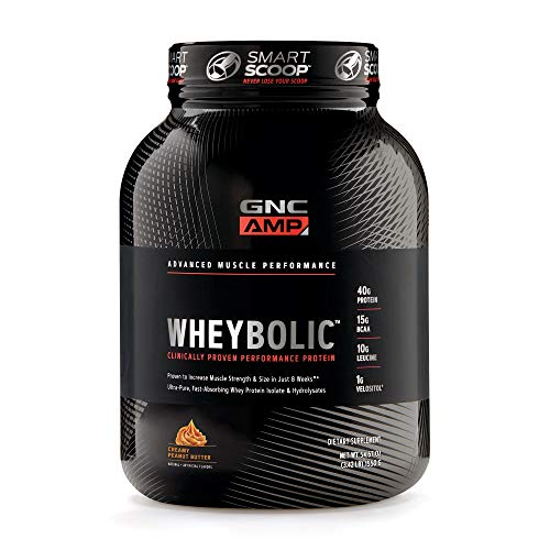 GNC AMP Wheybolic Whey Protein Powder, Creamy Peanut Butter, 25 Servings, Contains 40 Protein, 15g BCAA, and 10g Leucine Per Serving