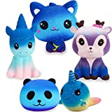 R ? HORSE Jumbo Cute Narwhal Cake, Galaxy Cat, Galaxy Unicorn, Galaxy Panda, Galaxy Dolphin, Galaxy Deer Set Kawaii Cream Scented Squishies Slow Rising Decompression Squeeze Toys for Kids (6 Pack)