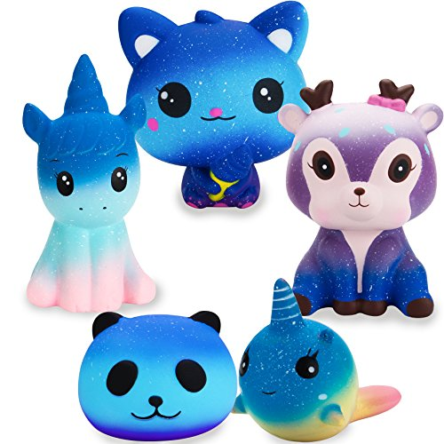 R HORSE Jumbo Cute Galaxy Cat, Galaxy Unicorn, Galaxy Panda, Galaxy Dolphin, Galaxy Deer Set Kawaii Cream Scented Squishy Soft Decompression Squeeze Toys for Kids (5 Pack)