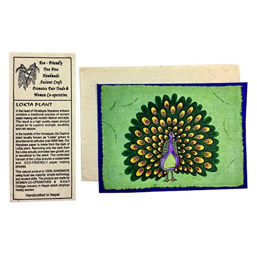 Handmade Peacock Card, Fair Trade, Eco Friendly, Handcrafted in Nepal