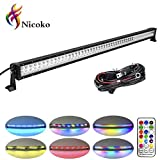 """Nicoko 52"""" 300w straight LED Light bar With Chasing RGB Halo 10 solid color over 72 modes Spotlights Off Road Lights Driving Lights Fog Lights LED Work Light with mounting brackets wiring harness"""