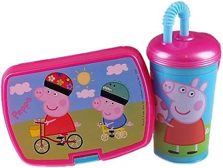 Peppa Pig 2 piezas Caja de almuerzo de escuela intermedia y taza ...