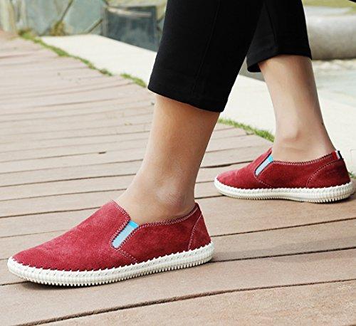 Scarpe Rosso Barca Fatto Morbido Sneakers Mano di a Pelle Scarpe Uomo Mocassini Di Guida SK Studio di qCwHzaC