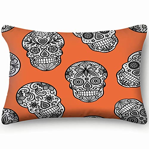 best bags Lace Sugar Skulls Background Holidays Pillowcases Decorative Pillow Covers Soft and Cozy, Standard Size 14