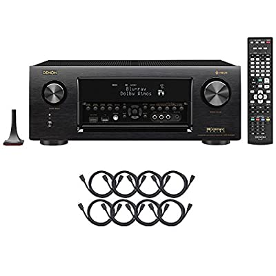 Denon AVR-X4400H Dolby Atmos, 9.2 Network ,Bluetooth,WiFi, AirPlay 4K Ultra HD In-Command AV Receiver with HEOS Technology with 8 HDMI Cable Bundle