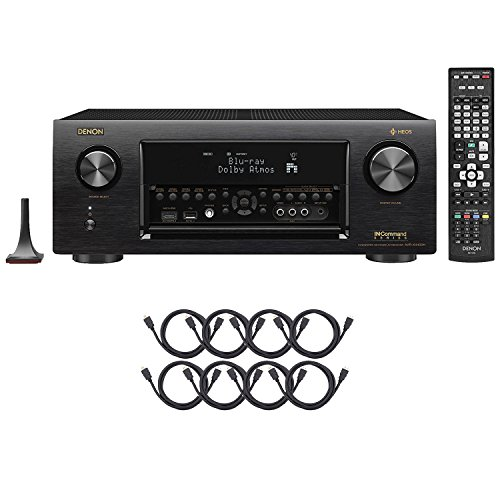 Denon AVR-X4400H Dolby Atmos, 9.2 Network ,Bluetooth,WiFi, AirPlay 4K Ultra HD In-Command AV Receiver with HEOS Technology with 8 HDMI Cable Bundle by Denon