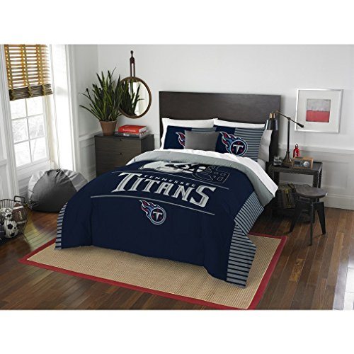 Tennessee Titans Comforter Set Bedding Shams NFL 3 Piece Full-Queen Size 1 Comforter 2 Shams Football Linen Applique Bedroom Decor Imported