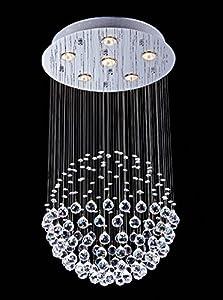 "Saint Mossi Crystal Rain Drop Chandelier Modern & Contemporary Ceiling Pendant Light 6 GU10 LED Bulbs Required H32"" X D18"""
