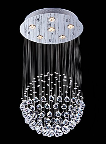 Saint Mossi Crystal Rain Drop Chandelier Modern & Contemporary Ceiling Pendant Light 6 GU10 LED Bulbs Required H32