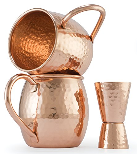 N&A Moscow Mule Copper Mugs Engraved Set of 2 with Free Jigger - 100% Pure Solid Unlined Copper - Large 18 Ounce Hammered Cups - Extra Thick and Heavy Mug - Moscow Mule Recipe Card - Handmade in India