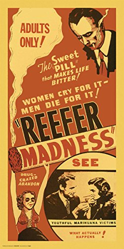 Culturenik Reefer Madness (red) Weed Marijuana Pot Novelty Drug Smoking Humor Print (Unframed 12x24 Poster)