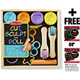 Cut, Sculpt & Stamp Clay Play Set Classroom: Deluxe Wooden Stamp Set + FREE Melissa & Doug Scratch Art Mini-Pad Bundle [51675]