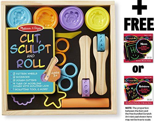 Melissa & Doug Cut, Sculpt & Stamp Clay Play Set Classroom: Deluxe Wooden Stamp Set & 1 Scratch Art Mini-Pad Bundle -