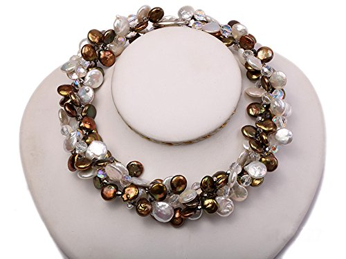 JYX 11-14mm White and Brown Coin Freshwater Pearl with Crystal Opera ()