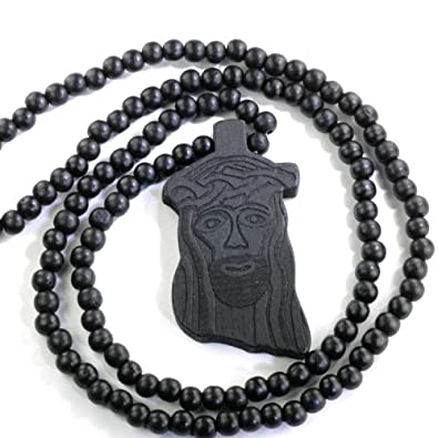 Dazzlingrock Wooden Black Round Bead 38 Inch Mens Necklace Rosary