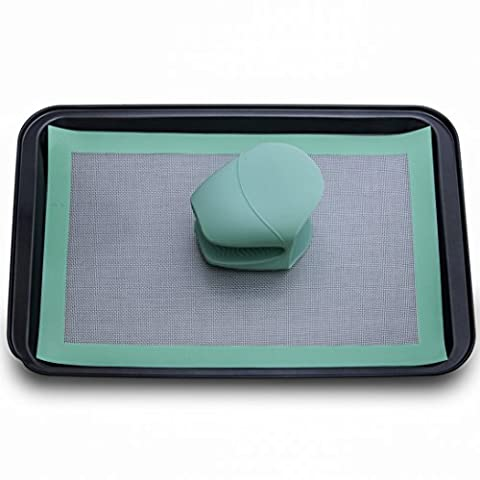 SILICONE BAKING BUNDLE- Baking Sheet, Non-Stick Silicone Baking Mat, And Silicone Mitts In A Convenient (Chefs Mitt)