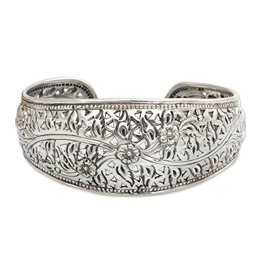 NOVICA Handmade Floral 925 Sterling Silver Cuff Bracelet, 6.5'', 'Sweet Jasmine' by NOVICA