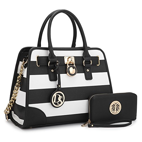 MMK collection Fashion Packlock Handbag for Women~Signature fashion Designer Purse with spring colors~Perfect Women Satchel Purse ~ Beautiful Designer handbag & wallet (XL-02-6892-Black/WHITE) (Black & White Purse)