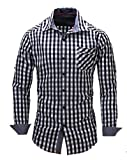 Suxiaoxi Mens Modern Plaid Long Sleeves Shirts Youth Lapel Tuxedo Shirts