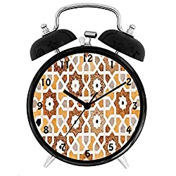 BCWAYGOD Antique, Detail of Inlay and Geometric Carvings Asian Taj Mahal Tomb Architecture,Desk Clock Home Unique Decorative Alarm Ring Clock 4in, Cream Orange Brown