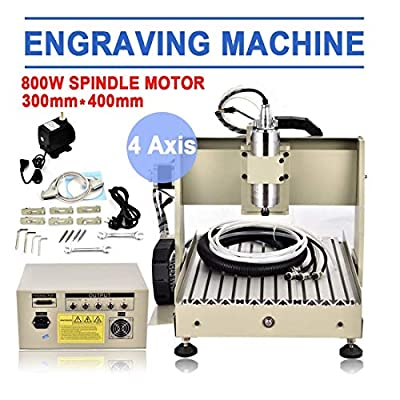 WUPYI 4 Axis CNC 3040 Router Engraver 800W Desktop Engraving Drilling Milling Machine Drill Wood DIY Artwork Woodworking 3D Cutter