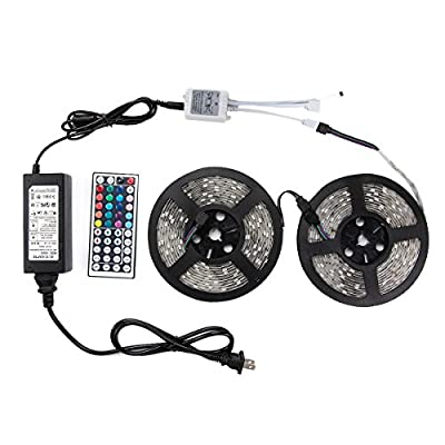 WenTop® Led Strip Lights Kit SMD 5050 Waterproof 32.8 Ft (10M) 300leds RGB 30leds/m with 44key Ir Controller and 12V 6A Power Supply for Pool, Car, Truck, Camper and More
