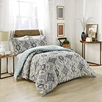 Marble Hill Ahana Reversible King Comforter Set (Teal)