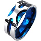 KONOV Mens Stainless Steel Ring, 8mm Classic Band, Blue