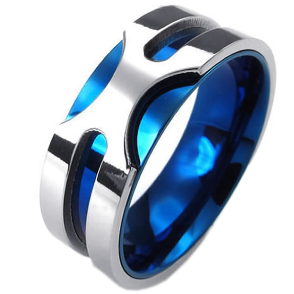 steel men blue stainless ip main rings black for