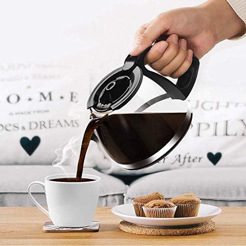 KDMB Machine à café américaine, Machine à café Goutte à Goutte, poignée de Filtre de Machine à café, Machine à café à Filtre avec Bouilloire en Verre, Noir