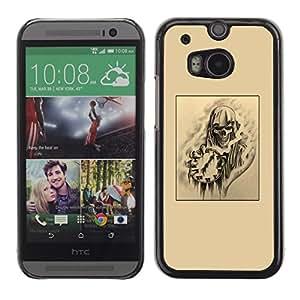 """For HTC One ( M8 ) Case , Arte Cráneo Tiempo Muerte Rock Metal Negro"""" - Diseño Patrón Teléfono Caso Cubierta Case Bumper Duro Protección Case Cover Funda"""