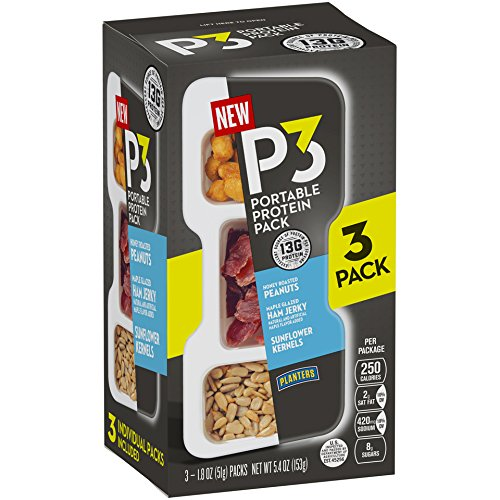 Planters P3 Honey Roasted Peanuts, Maple Glazed Ham Jerky & Sunflower Kernels Portable Protein Pack, 5.4 oz