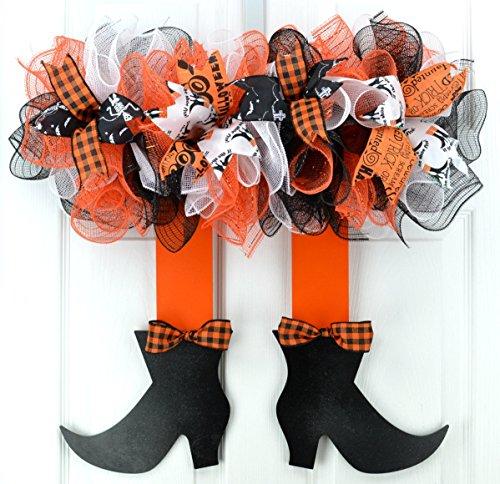 Halloween Witch Legs Skirt Mesh Front Door Outdoor Wreath; Orange Black (This My Halloween Welcome To Halloween Party)