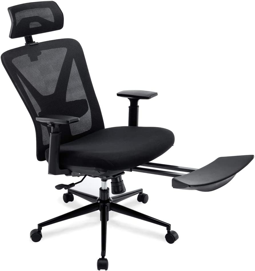 Ergonomic Office Chair - High Back Reclining Desk Chair with Retractable Leg Rest (Black)