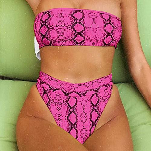 80% AUS BOLANQ Fashion Women Off-Shoulder Strap Snake Print Swimsuit Bikini Heiß Rosa K4MlA3F0