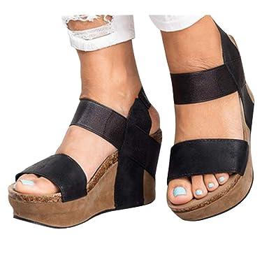 a872d25c22578 Amazon.com: High Heel Sandals Women Beach Sandals Rome Elastic Band ...