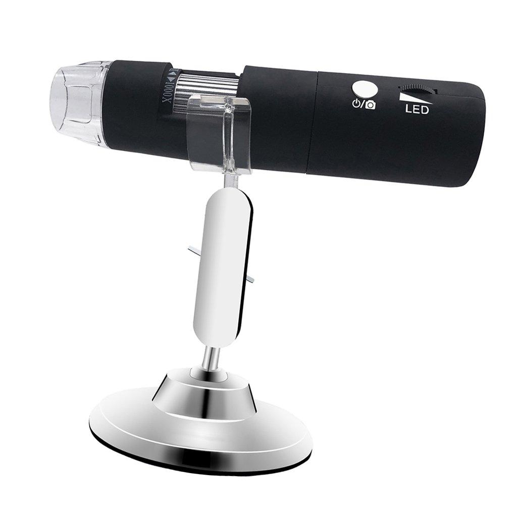 perfk Microscopio Digital Cámara 50X-1000X 8-LED Compacto Utensilios Compacto 8-LED Herramientas de Fontanería Negro d7a5b1