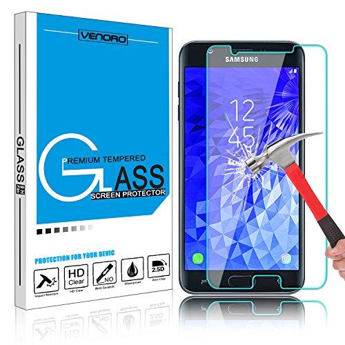Galaxy J7 2018 Screen Protector, Venoro Galaxy J7 Aero J737V/Galaxy J7 Aura/J7 Crown/J7 Top J737T/J7 Refine Tempered Glass Screen Protector for Samsung Galaxy J7 Eon/Galaxy J7 Star (1 Pack)