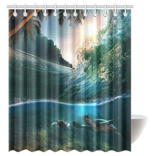 Tropical Ocean Shower Curtain Set Turtle Swimming Underwater Bath Curtain Waterproof Fabric Bathroom Decor with Hooks, 72 X 84 inch Extra Long