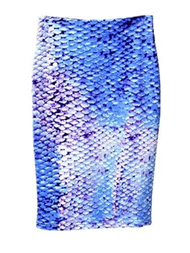 Floral Haute Tendance Imprimer Skirt Blue2 Vintage Femme Haililais Slim Genou ElGant Jupe Jupe Jupe Au Fit Jupe Femelle Fendue Taille qnC4Ow18Tx