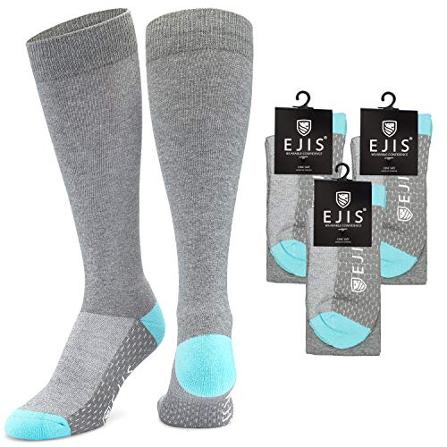 Ejis Antibacterial Dress Socks for Men with Odor Fighting Silver (Grey/Blue, 3-Pack)