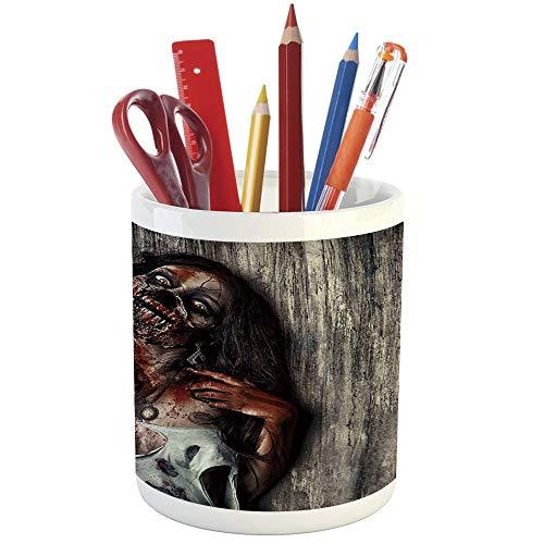 Pencil Pen Holder,Zombie Decor,Printed Ceramic Pencil Pen Holder for Desk Office Accessory,Angry Dead Woman Sacrifice Fantasy Mystic Night Halloween Image Decorative