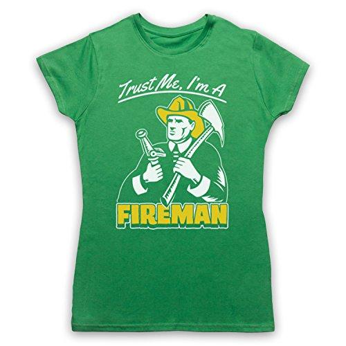 Trust Me I'm A Fireman Funny Work Slogan Camiseta para Mujer Verde
