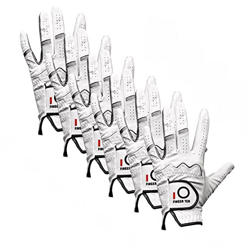 Finger-Ten-Mens-Stablegrip-Soft-Synthetic-Cabretta-Natural-Fit-Left-Hand-Golf-Gloves-Extra-Value-6-Pack
